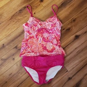 Lands end size 10 12 pink tankini swimsuit paisley